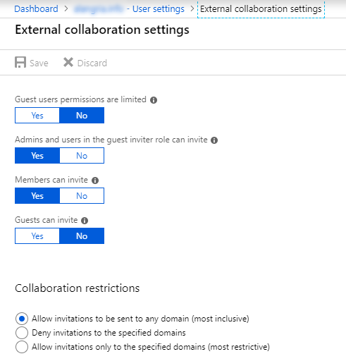 Screenshot of Azure AD Manage External Collaboration Settings
