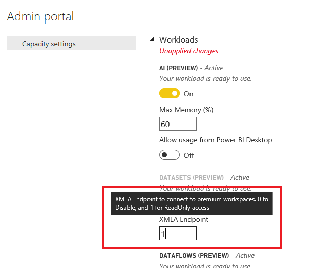 Capacity admin setting Power BI open platform connectivity with XMLA endpoints public preview
