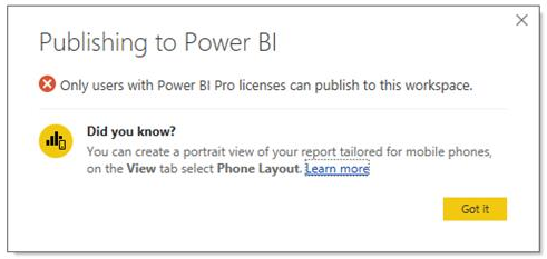 Screenshot of Power BI Desktop publish error dialog indicating the user does not have the right license to upload to the selected workspace.