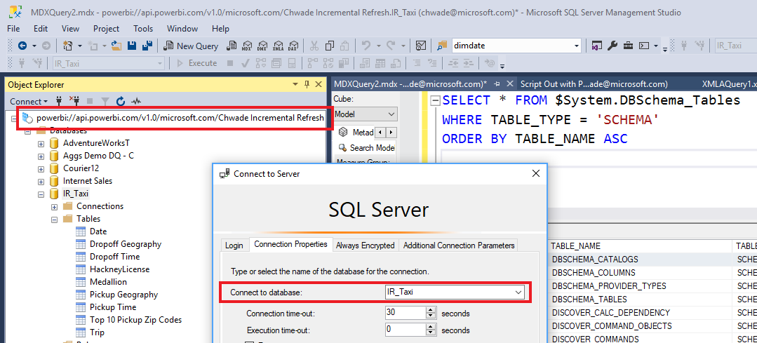 SSMS connection Power BI open platform connectivity with XMLA endpoints public preview