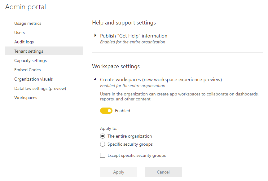 Screenshot of Power BI admin portal showing the setting that allows users to create workspaces.