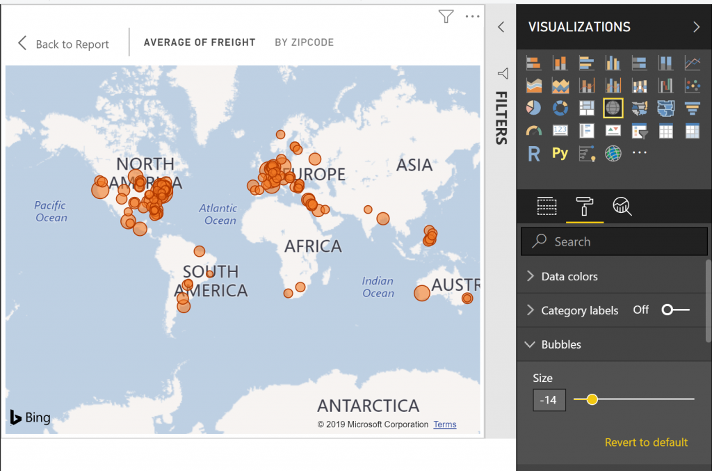 map bubble sizes 1024x677 Power BI Desktop March 2019 Feature Summary