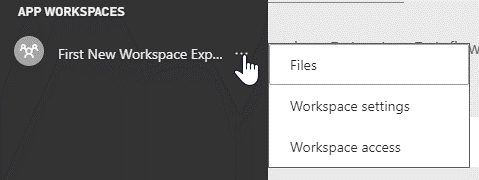 Screenshot showing files menu option for a workspace