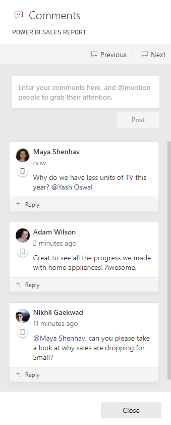 Comments pane all comments Announcing Report Commenting for Power BI Service and Mobile