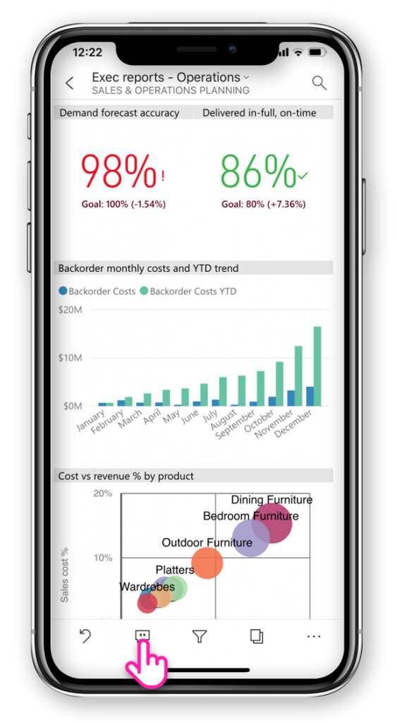 Mobile entry point 563x1024 Announcing Report Commenting for Power BI Service and Mobile