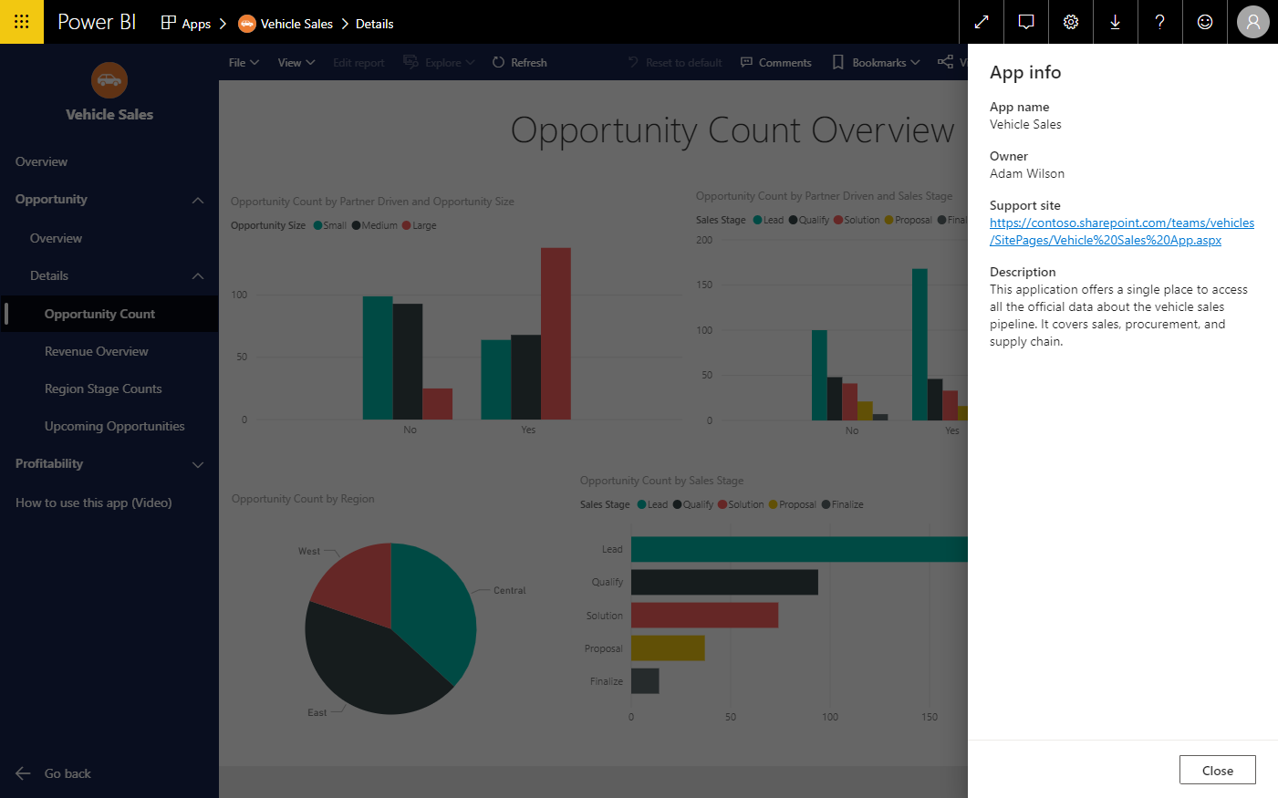 Image of the app info panel showing Power BI app information.