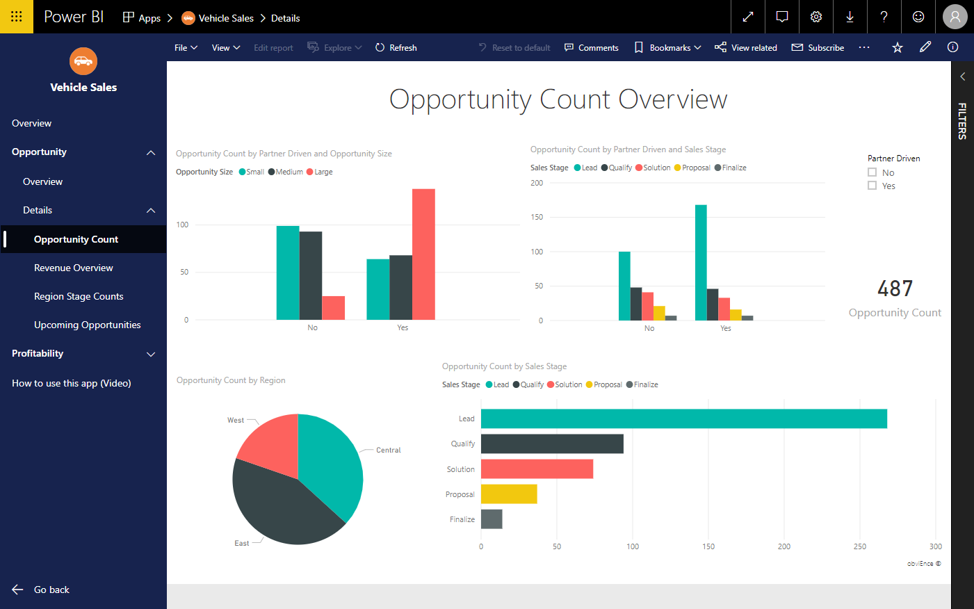 Image of viewing a report in a Power BI app with the new navigation.