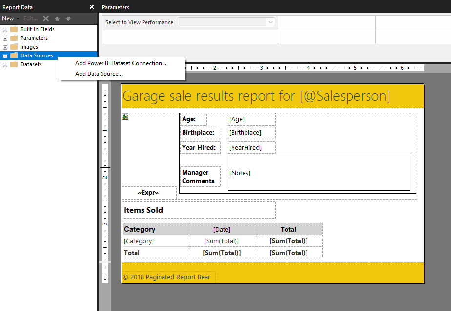 Image1 Announcing support for non Premium Power BI datasets in Power BI Paginated Report Builder