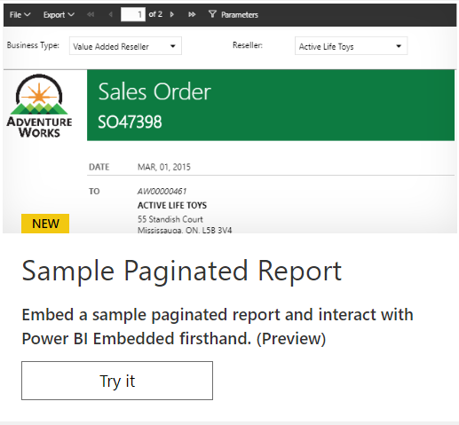 Sample Paginated Report Embed paginated reports in your own application for your customers (Preview)