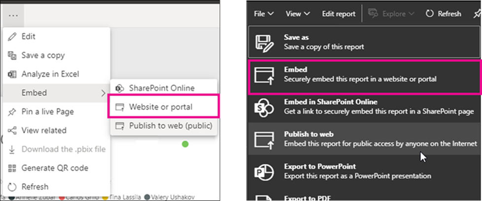 publish to web embed website or portal Heads up: The Publish to web default is changing and it affects who can create public embed codes