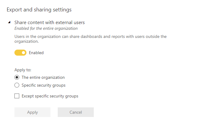 Tenant export sharing setting