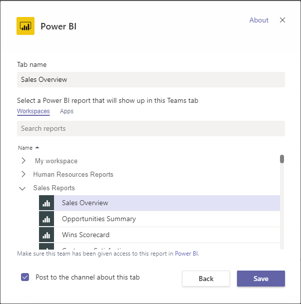 The Power BI tab setting UI showing a report selected.