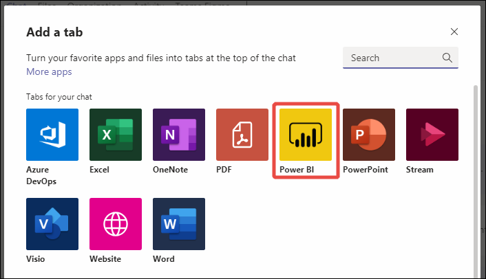The list of tabs available in Microsoft Teams with the Power BI tab highlighted.