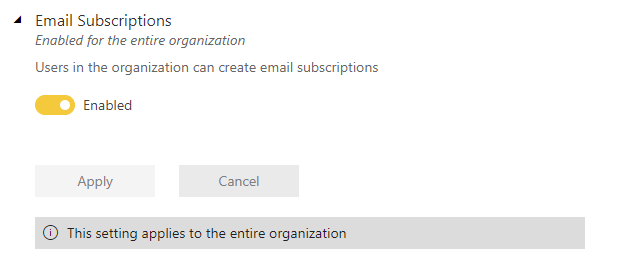 View of tenant subscription setting
