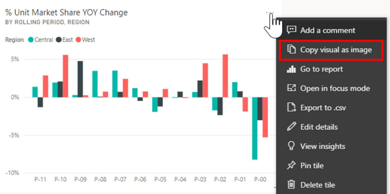 "Power BI Tile Visual with ""Copy visual as image"" highlighted."