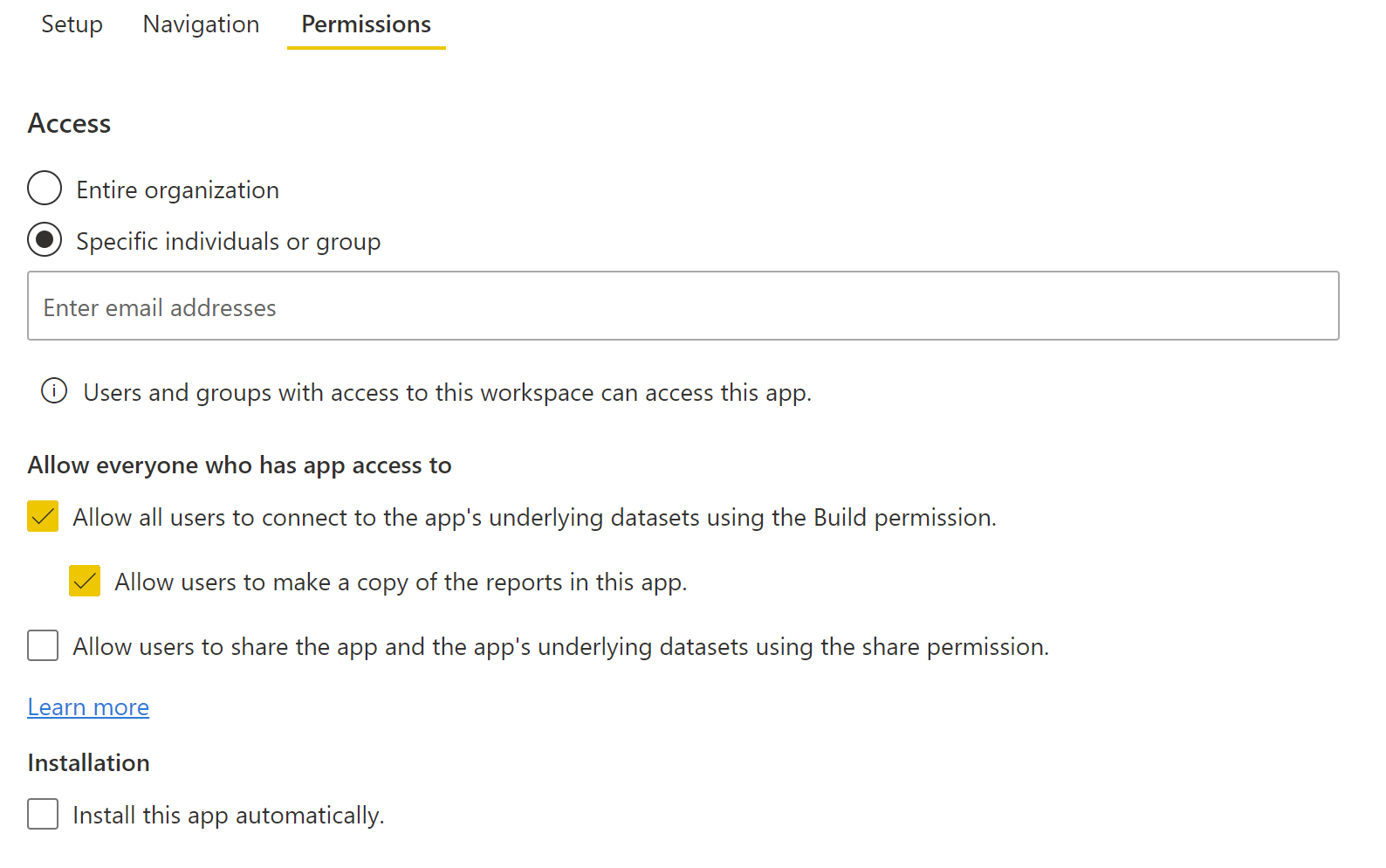 Screenshot of the updated look of the Power BI App permissions page.