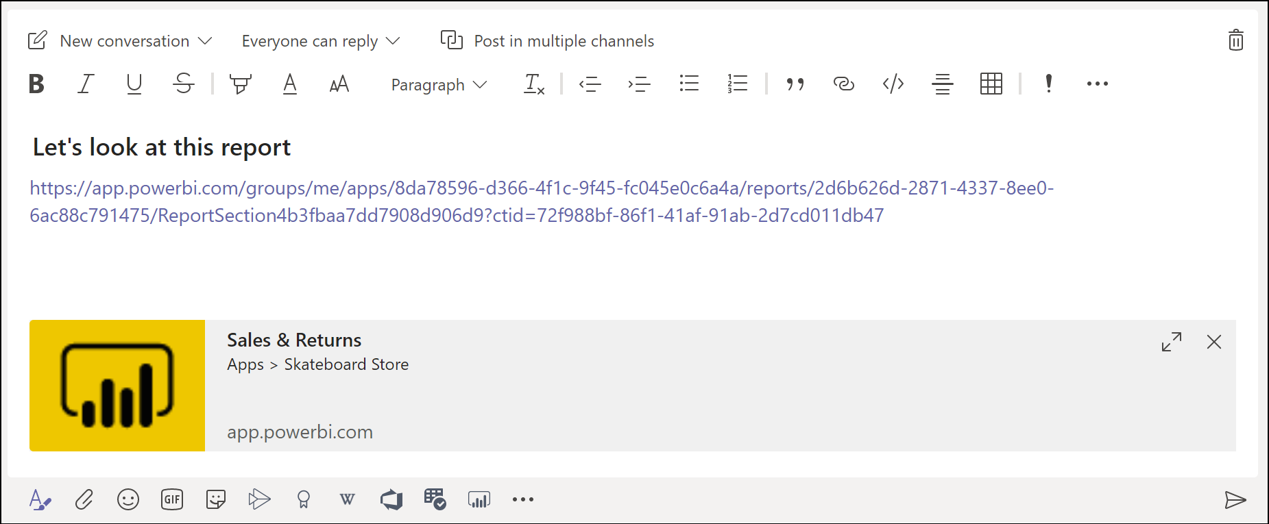 The Microsoft Teams message box is shown with a basic link preview for a Power BI report.