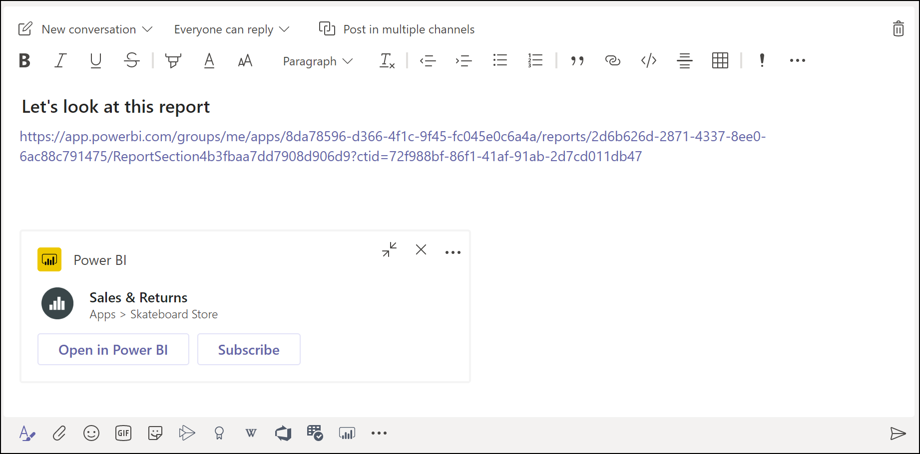 The Microsoft Teams message box is shown with a rich link preview for a Power BI report.