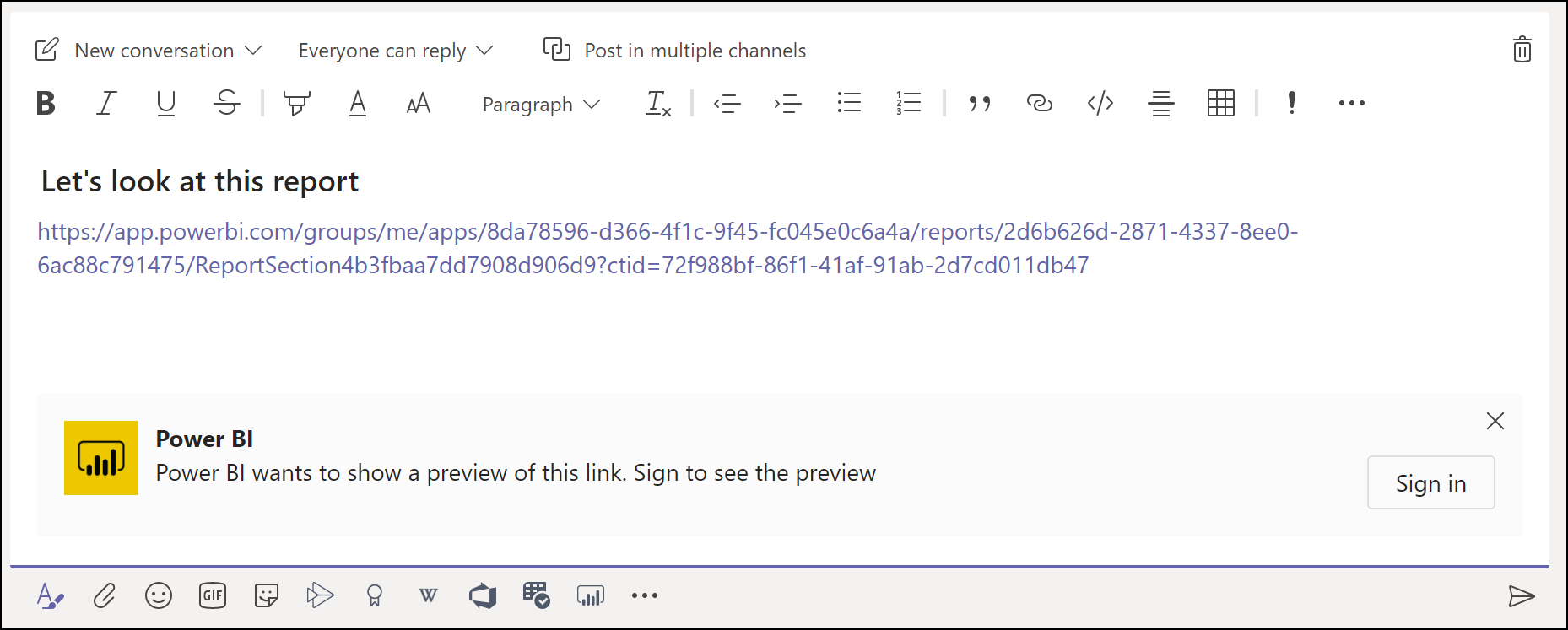 The Microsoft Teams message box is shown with the sign in experience for needed to get link previews for Power BI.