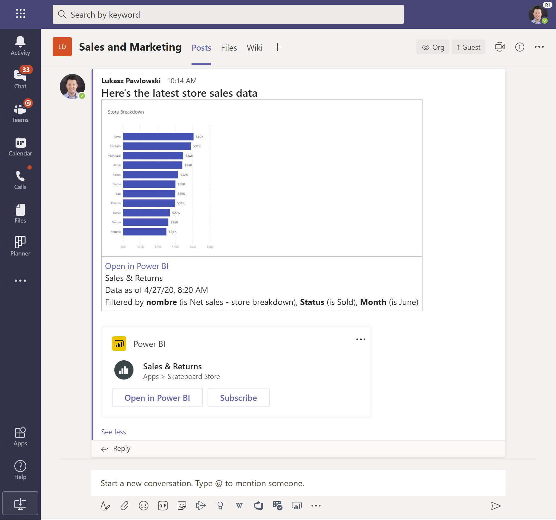 The Microsoft Teams message box is shown with a visual pasted from Power BI and the rich link preview under it.