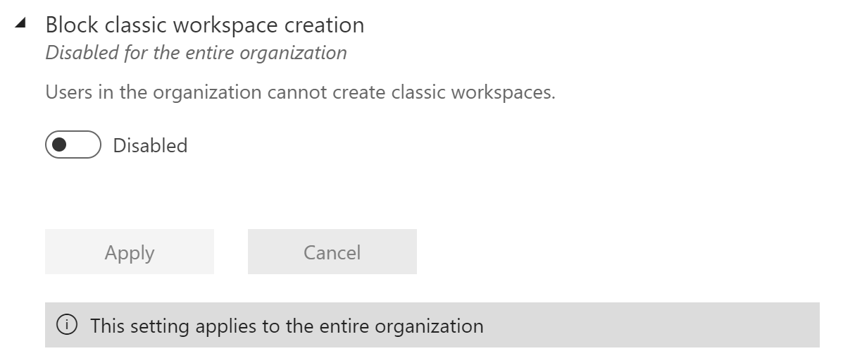Screenshot of a Power BI Admin portal tenant setting allowing organizations to block the creation of classic workspaces.