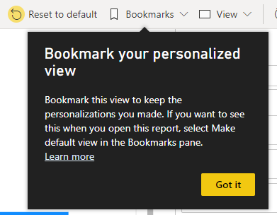 Coachmark explaining how to use bookmarks to store personalized visuals