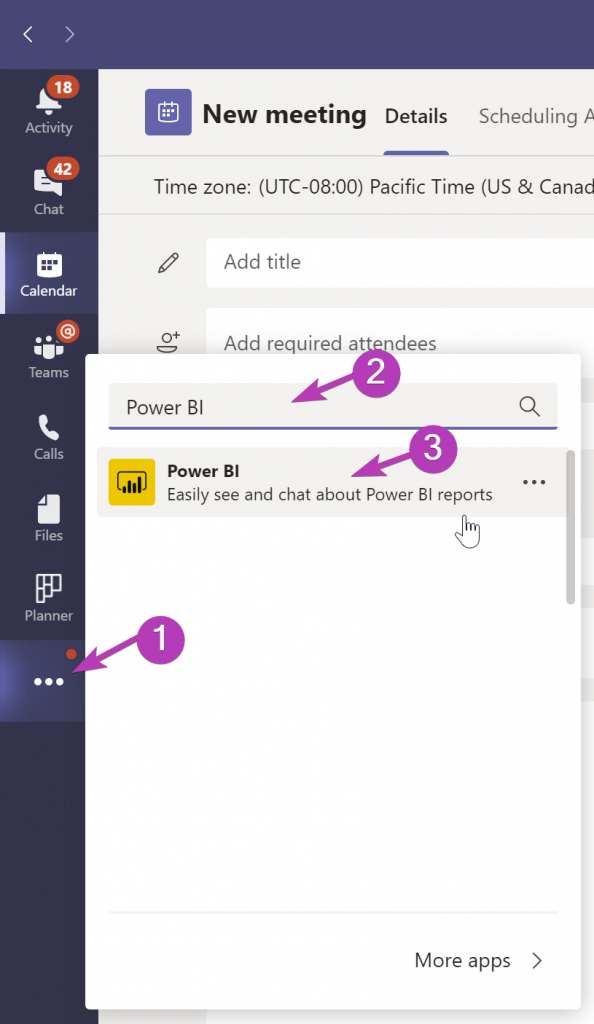Screenshot showing how to find the Power BI app through the Microsoft Teams left navigation ... button.
