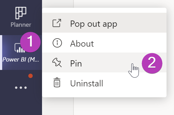Screenshot showing how to pin the Power BI app in Team by right-clicking the app icon in the left navigation and selecting Pin.