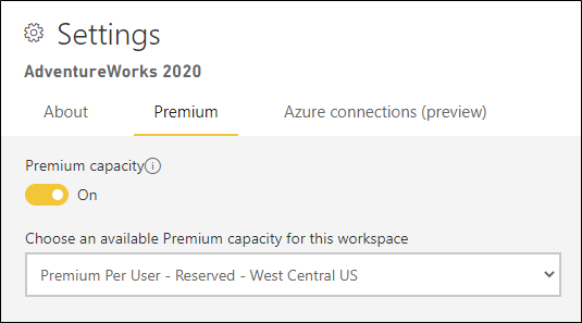 This is a picture of the capacity settings page