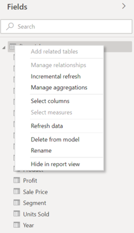 Context Menu Table - old model view