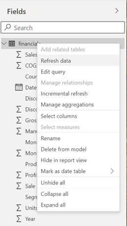 Context Menu Table - new model view