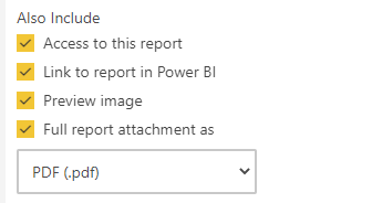 Subscription selections for Power BI reports
