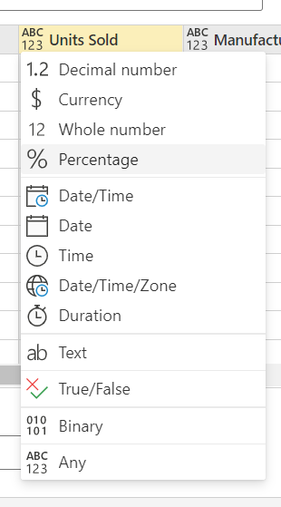 Data type dropdown for a column within the enter data view. Example options include Whole Number, Text, Date, True/False, and Binary.