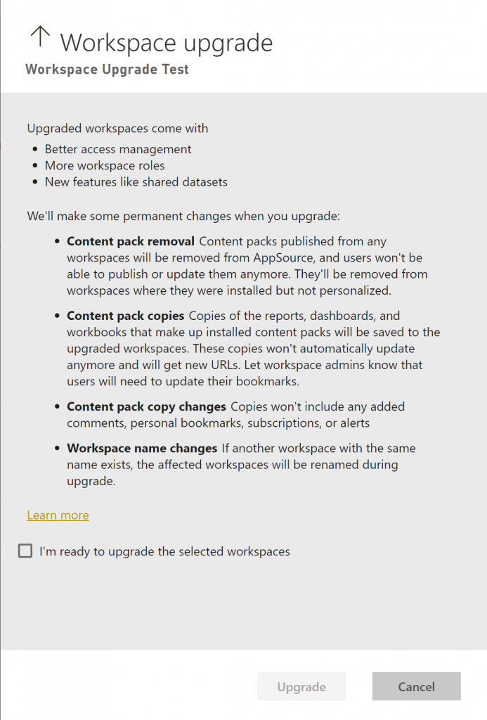 The upgrade pane shown to admins before they start an admin-initiated workspace upgrade.