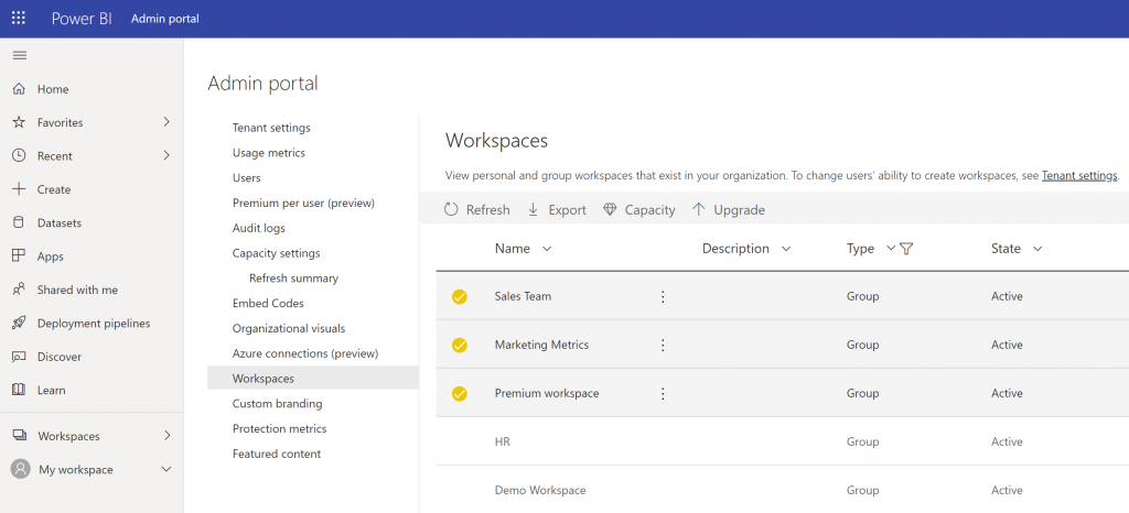 The workspaces list in the Power BI Admin Portal with the upgrade option when classic workspaces, those with type set to Group are selected.