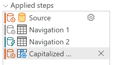 Steps pane when adding a non-folding step, including folding indicators