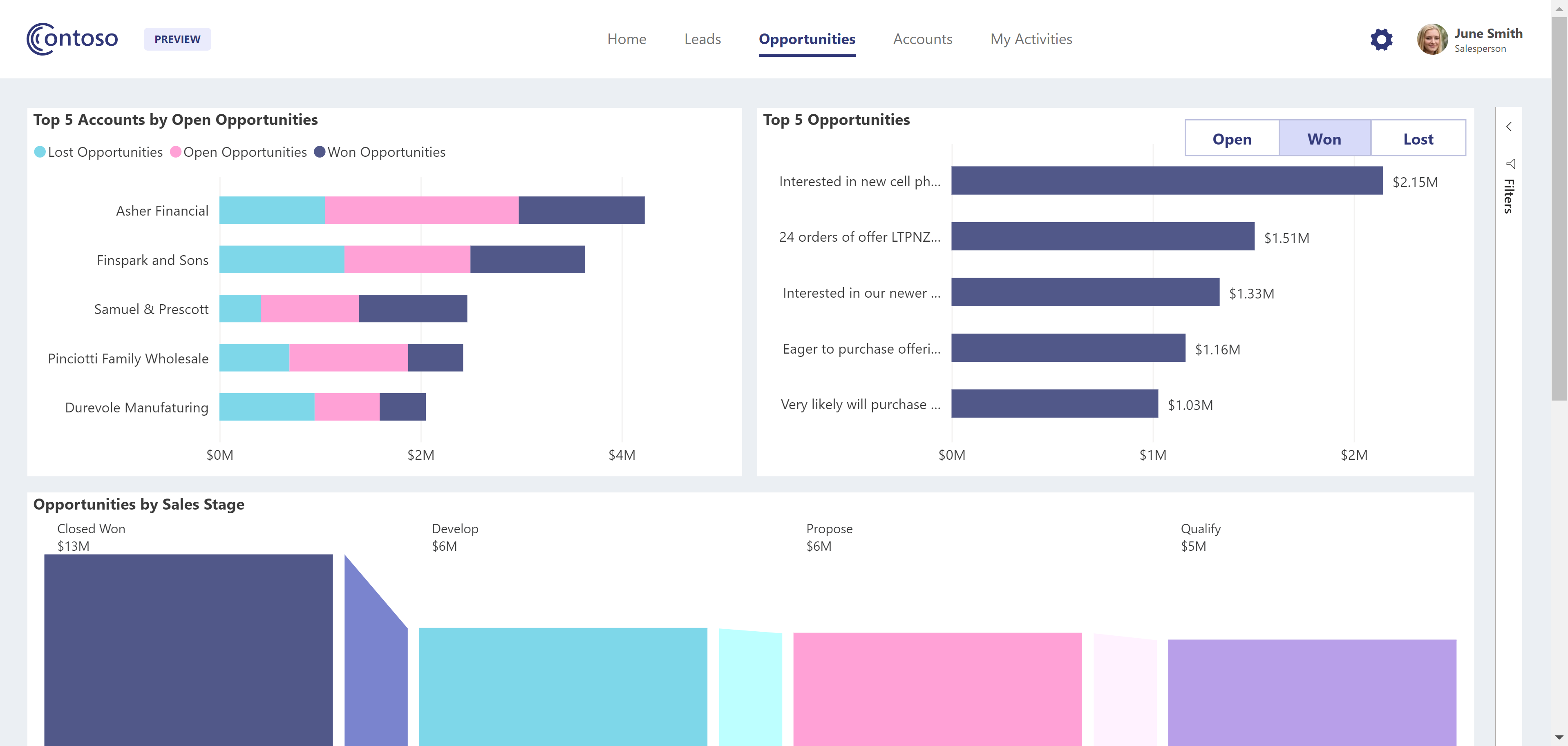 Power BI embedded analytics Contoso demo - opportunities page