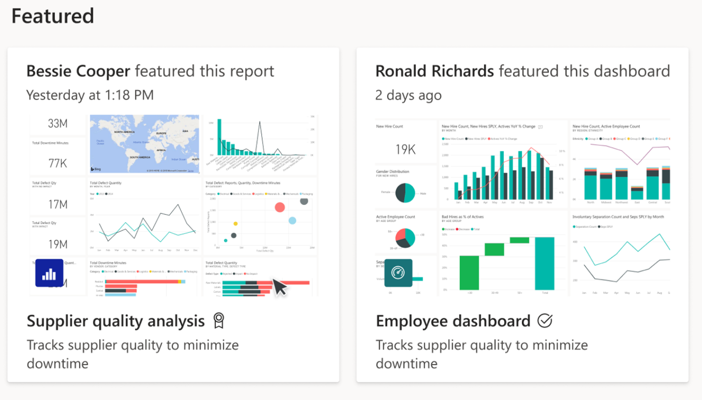 Screenshot of the Power BI Home page Featured content section.