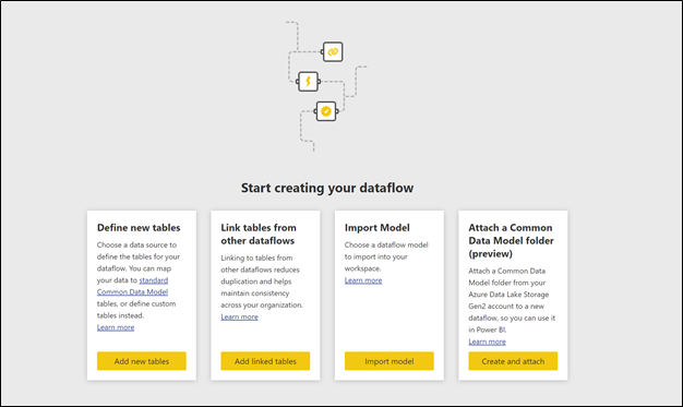 Dataflows authoring page