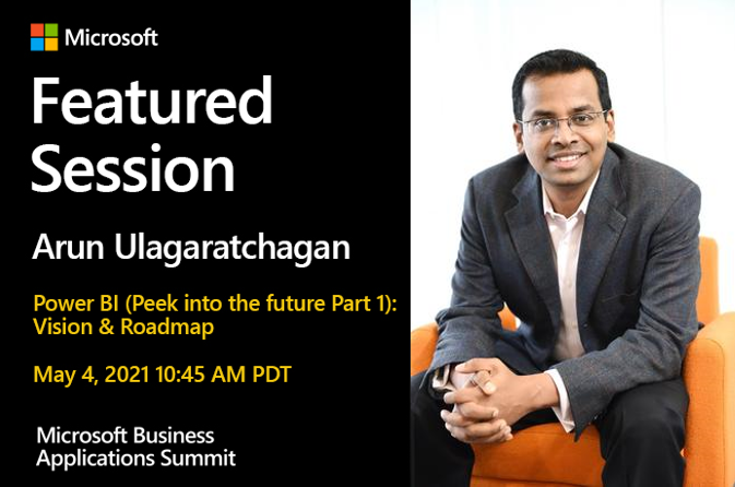 Arun Ulag sitting on an organge arm chair. Information on the Power BI featured session, Part 1.