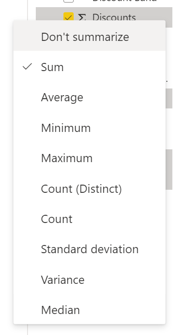 Context menu showing aggregation options for a numeric field