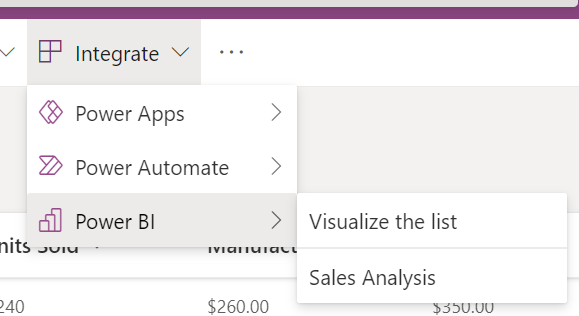 Integrate menu in SharePoint showing the previously shared report.