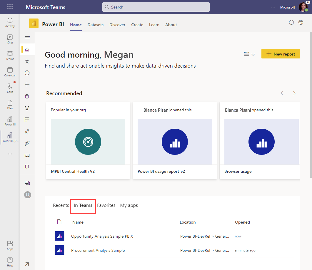 View all the tabs you use in Microsoft Teams.
