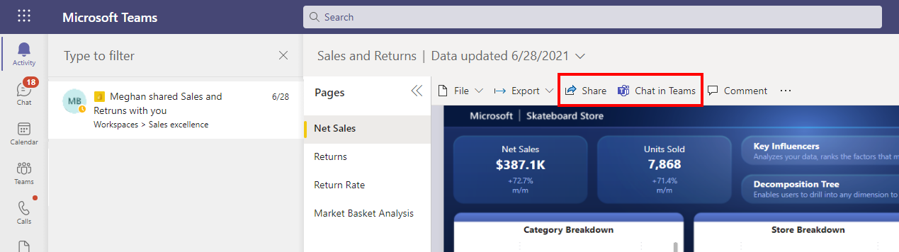 Screenshot of the Power BI report sharing notification experience highlighting the Share and Chat in Teams options in the action bar, which help users reshare the report quickly to other who may need to use it.