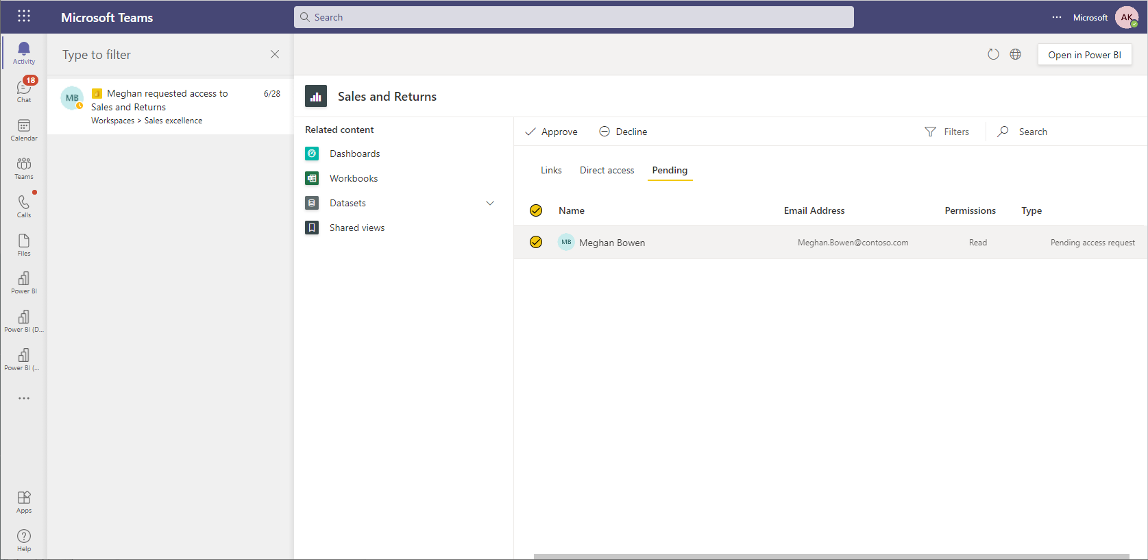A screenshot of the Power BI request access notification in the Microsoft Teams activity feed. It shows the access management page loaded in the activity feed experience making it easy to quickly grant access.