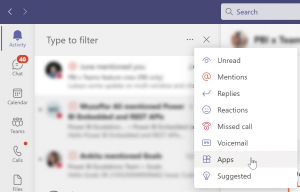 Screenshot of the Microsoft Teams activity feed filter option that lets users filter to show notifications sent by apps.