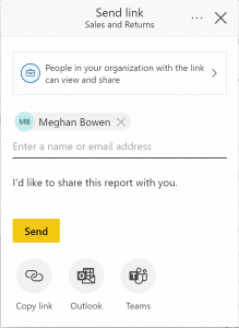A screenshot of the Power BI easy sharing experience with a person selected who will receive notifications.