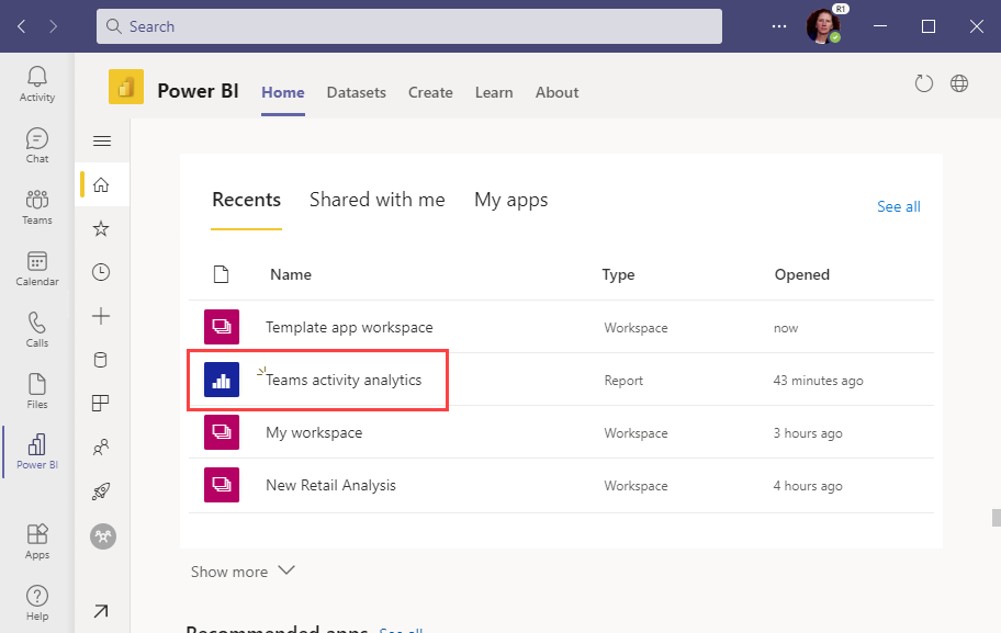 Screenshot of viewing the report in the Recents section.