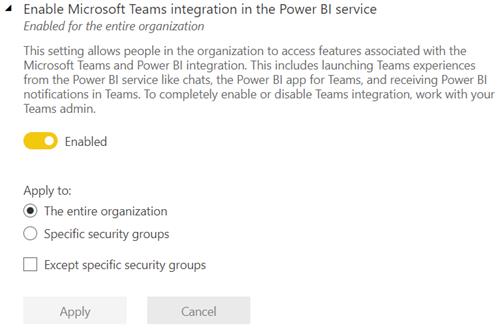 Screenshot that shows the Microsoft Teams integration tenant setting in the Power B I admin portal.