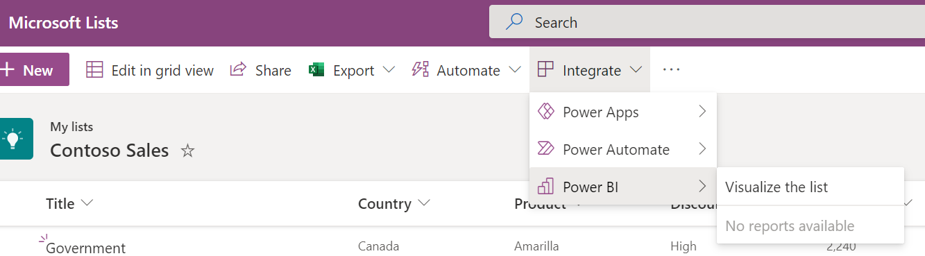 Visualize the list button found in the command bar under the Integrate split button.